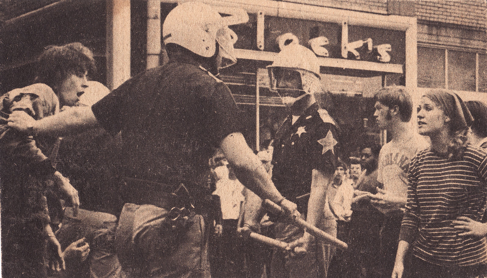 Paul getting arrested at Viet Nam war demonstration in Bloomington, Indiana 1969. Photo from Bloomington Tribune newspaper.
