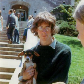 Paul with Andy (dog) and Dave in front of IU Union