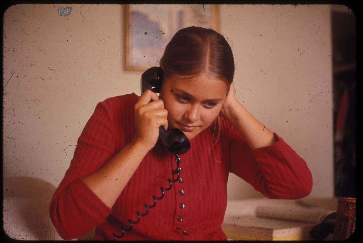 Peggi on the telephone in 1970