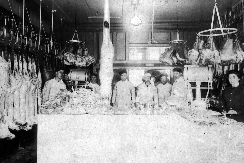 Tierney Market 1906. Art Tierney, Edmond Weitz, Joe Tierney, Jim Tierney, Walt Tierney, Ray Tierney and Betsy Tierney