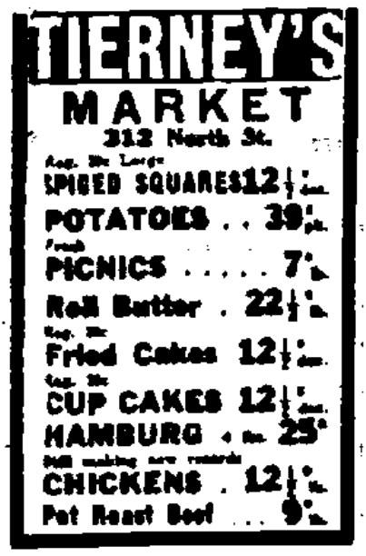 1933 Tierney's Market newspaper ad