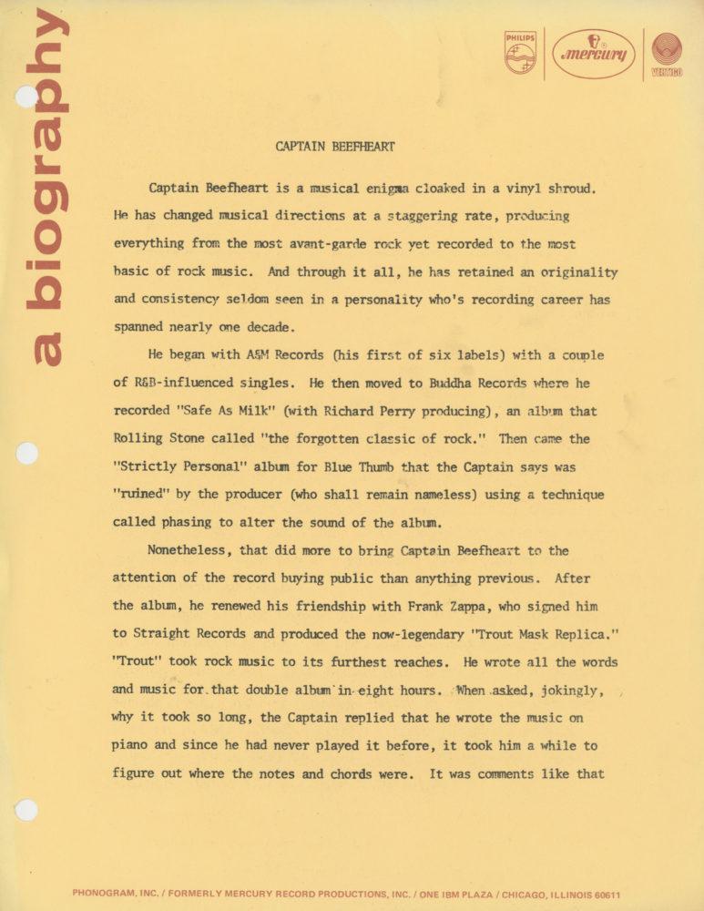 Captain Beefheart Promo Bio Mercury Records Page 1