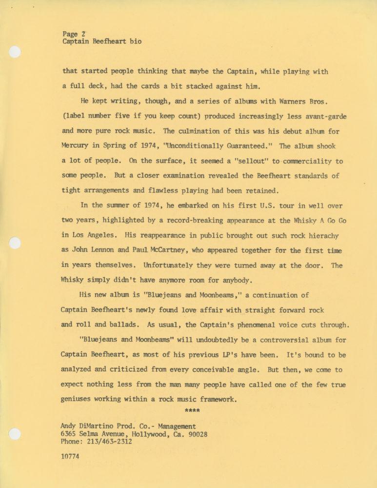 Captain Beefheart Promo Bio Mercury Records Page 2