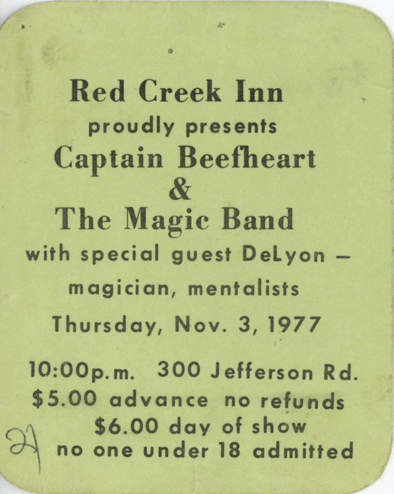 Ticket for Captain Beefheart and the Magic Band at Red Creek Inn November 3, 1977