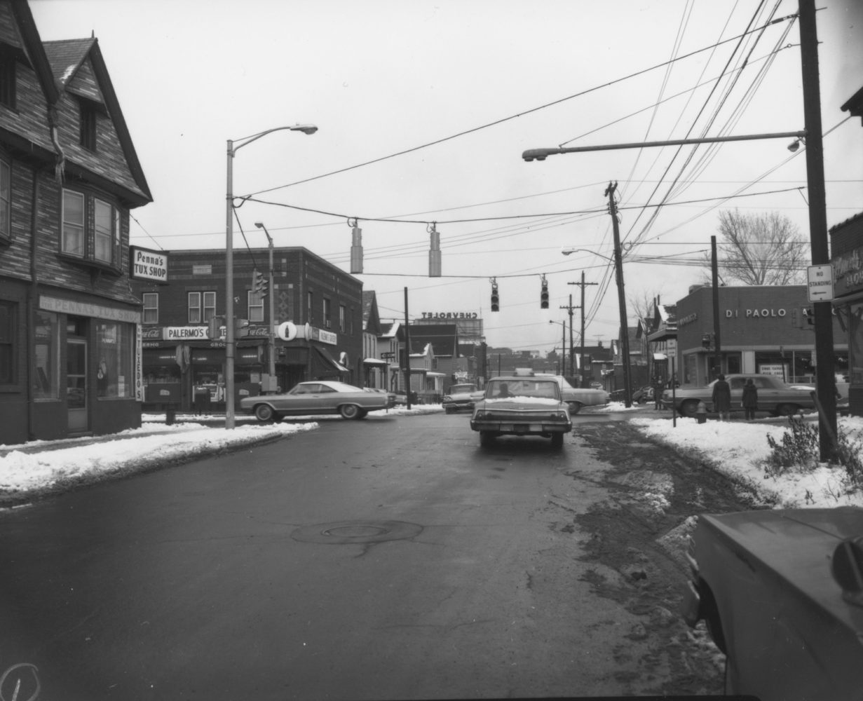 Plymouth Avenue and Smith Street with DiPaolo Bakery in Rochester. - photo from City of Rochester