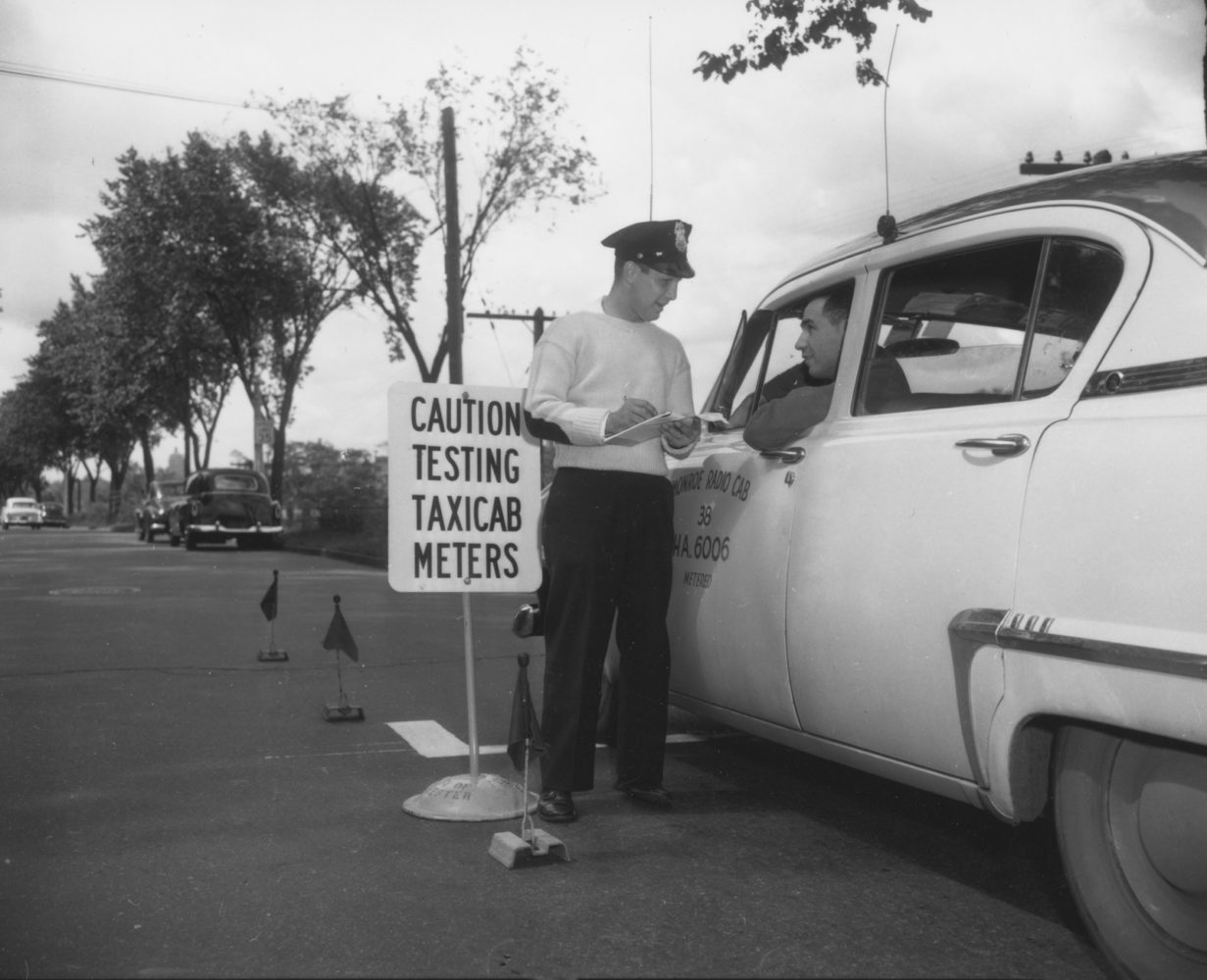 Taxi cab meter testing by Weights & Measures 1954- photo from City of Rochester