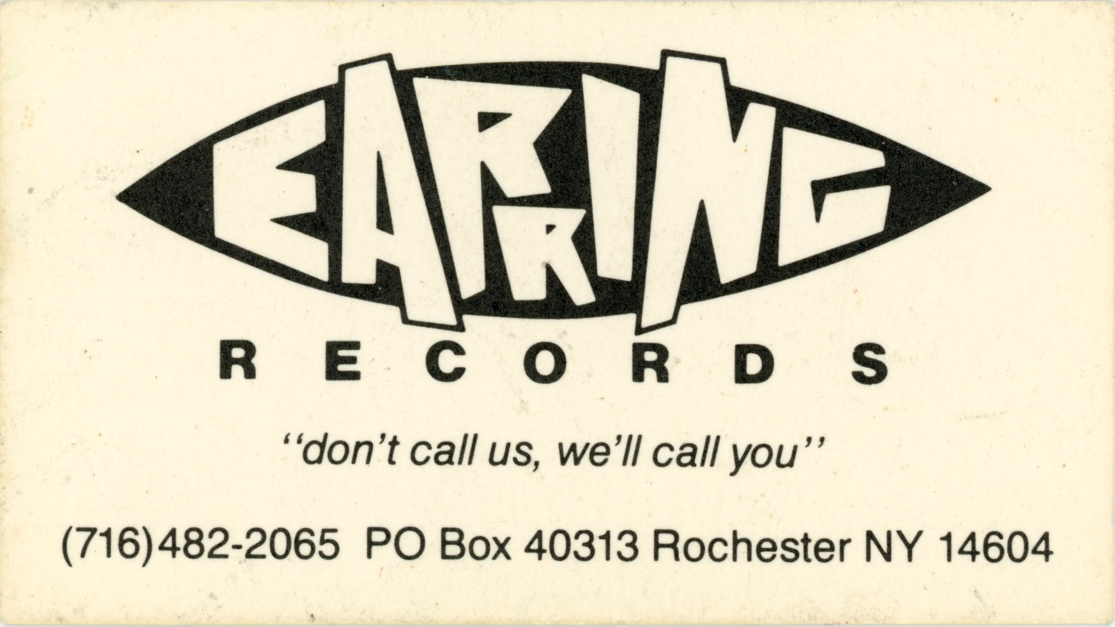 Earring Records Business Card 1983