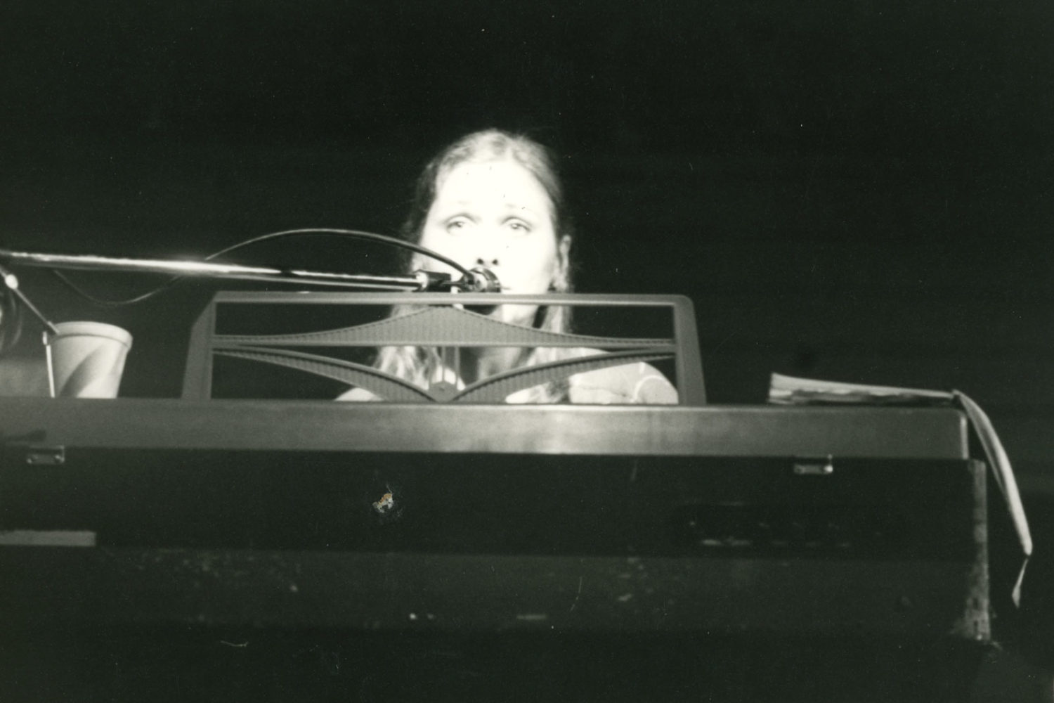 Peggi behind Farfisa at Record Archive in 1980