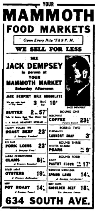 Mammoth Food Market newspaper ad featuring Jack Dempsey appearance