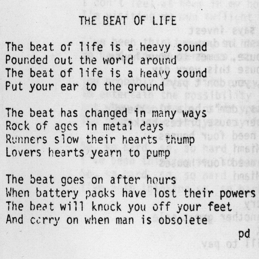 "Lyrics to Personal Effects song, ""The Beat of Life"" from 1981"