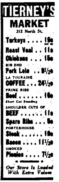 Tierney Market newspaper ad