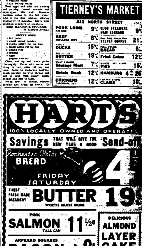 Tierney's Market newspaper ad next to Hart's Market ads