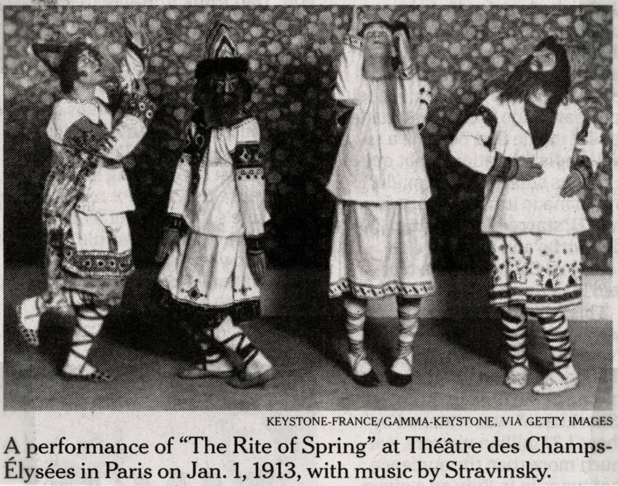 "Performance of Stravinsky's ""The Rite of Spring"" at Téåtre des Champs-Elysees in Paris in 1913"