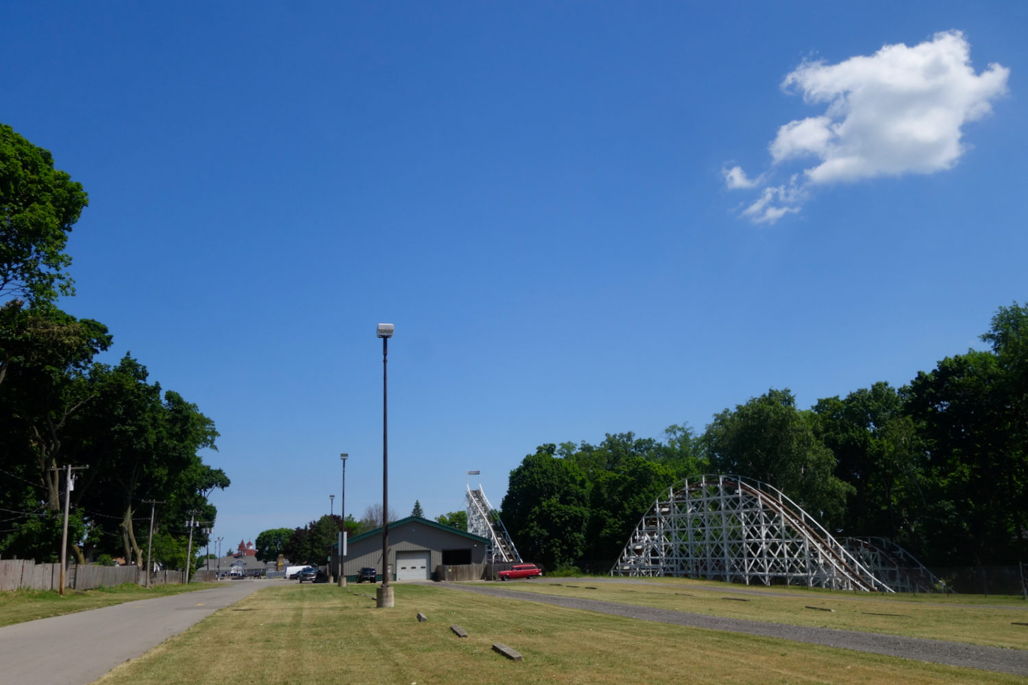Back side of Sea Breeze Amusement Park in Rochester, New York