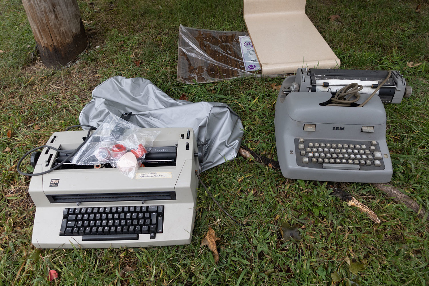 IBM typewriters by curb on Wisner Road