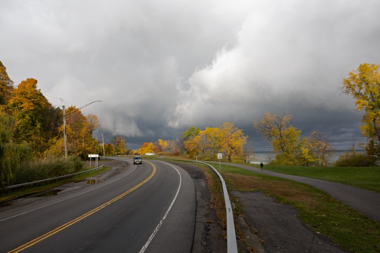 Lakeshore Boulevard with Peggi on trail and Honda Element coming toward us