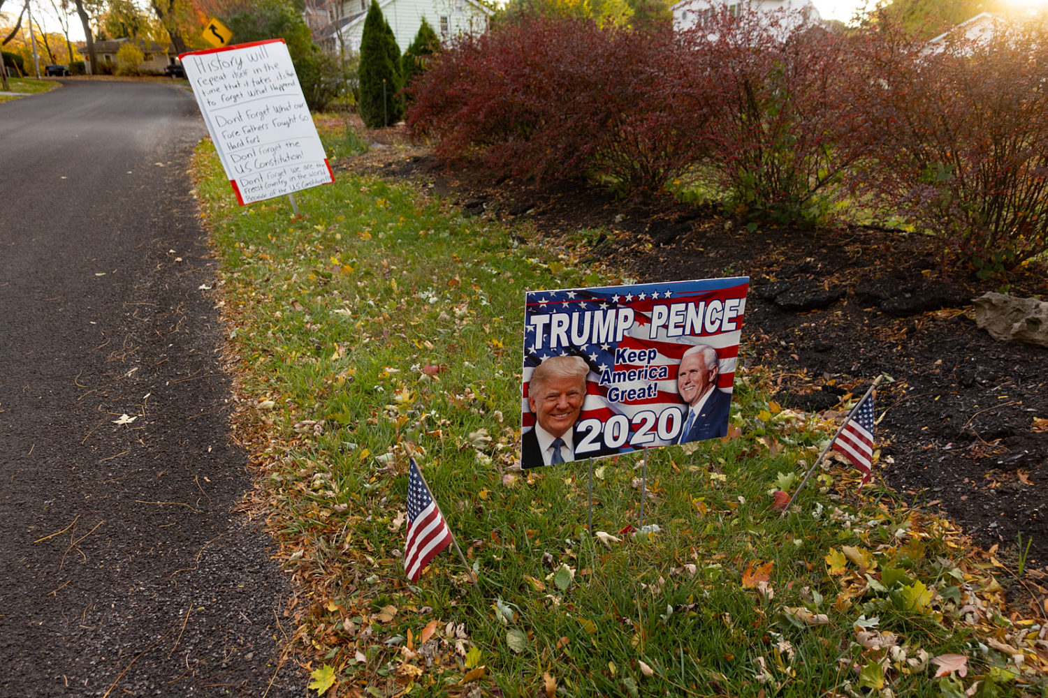 Trump sign on Peart Avenue with constitution message