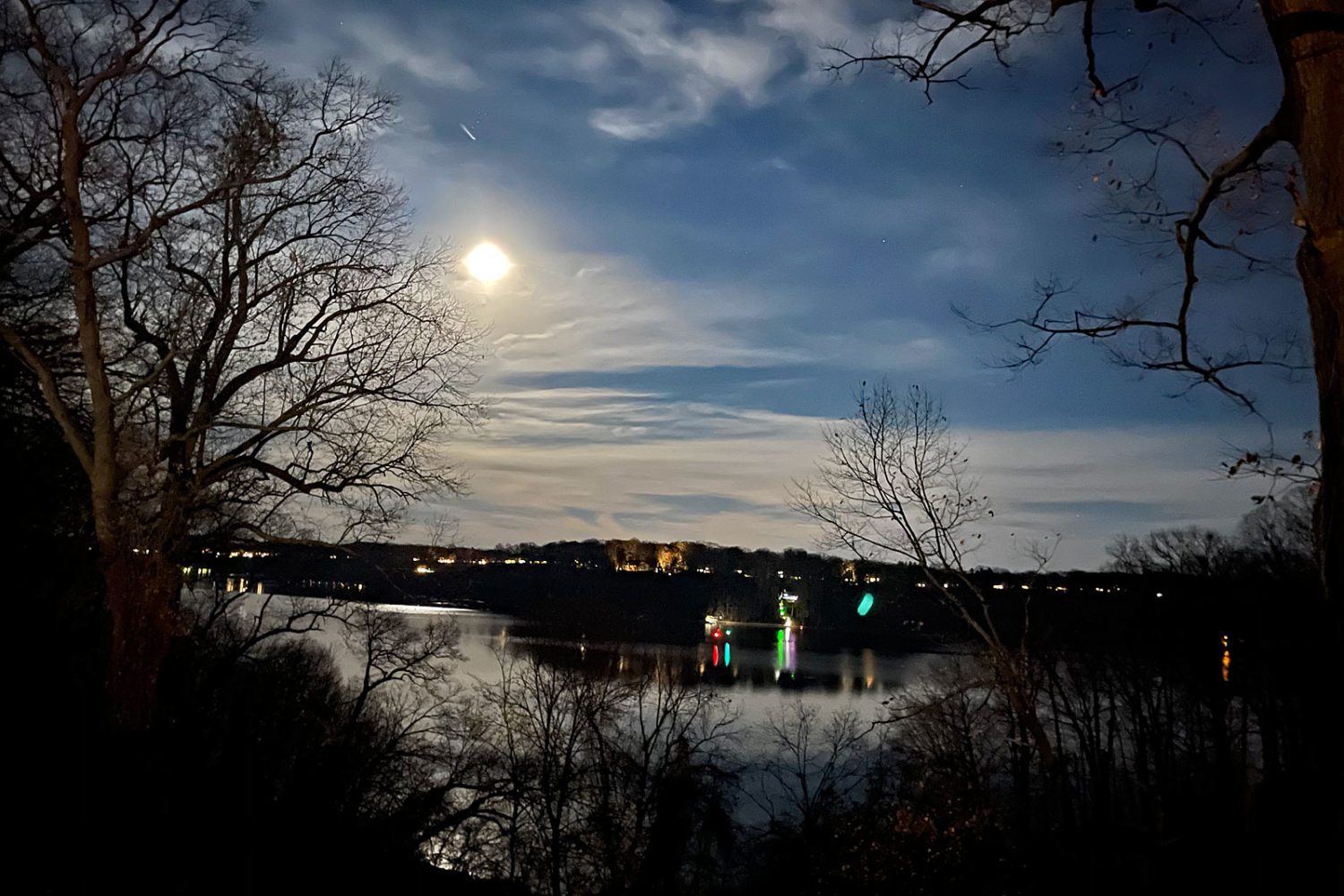 View of Beaver moon rise from Kathy's place on Irondequoit Bay. Photo by Peggi Fournier.