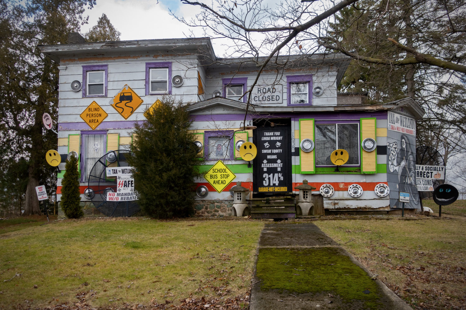 315 house with signs