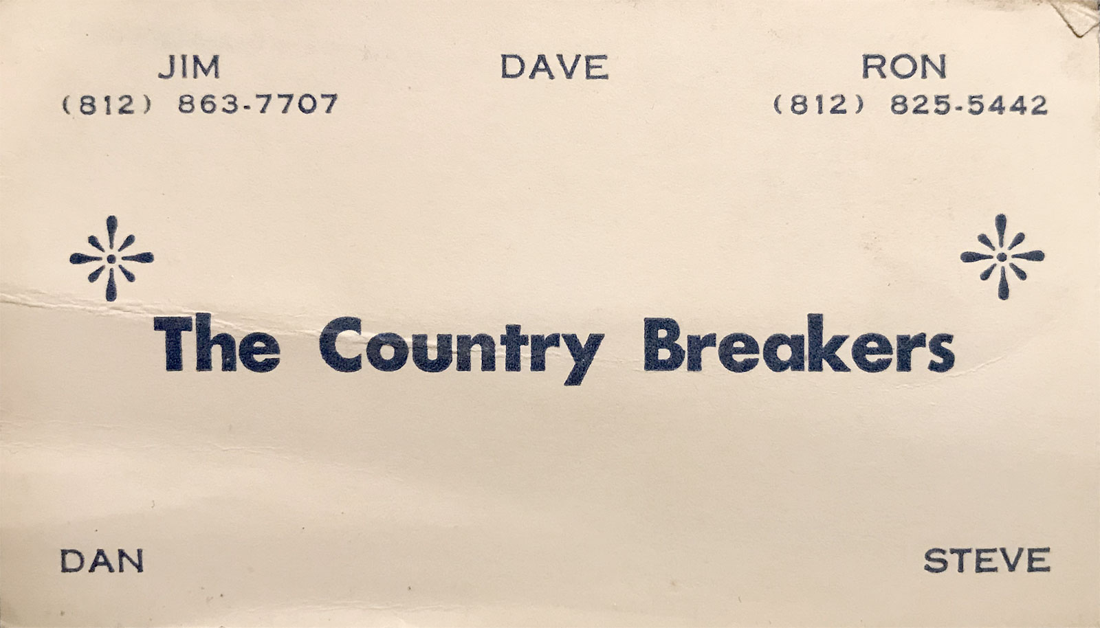 Country Breakers business card, Bloomington Indiana country band formerly know as The On Fours