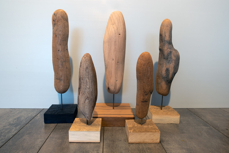 4 driftwood and 1 firewood sculptures, a work in progress