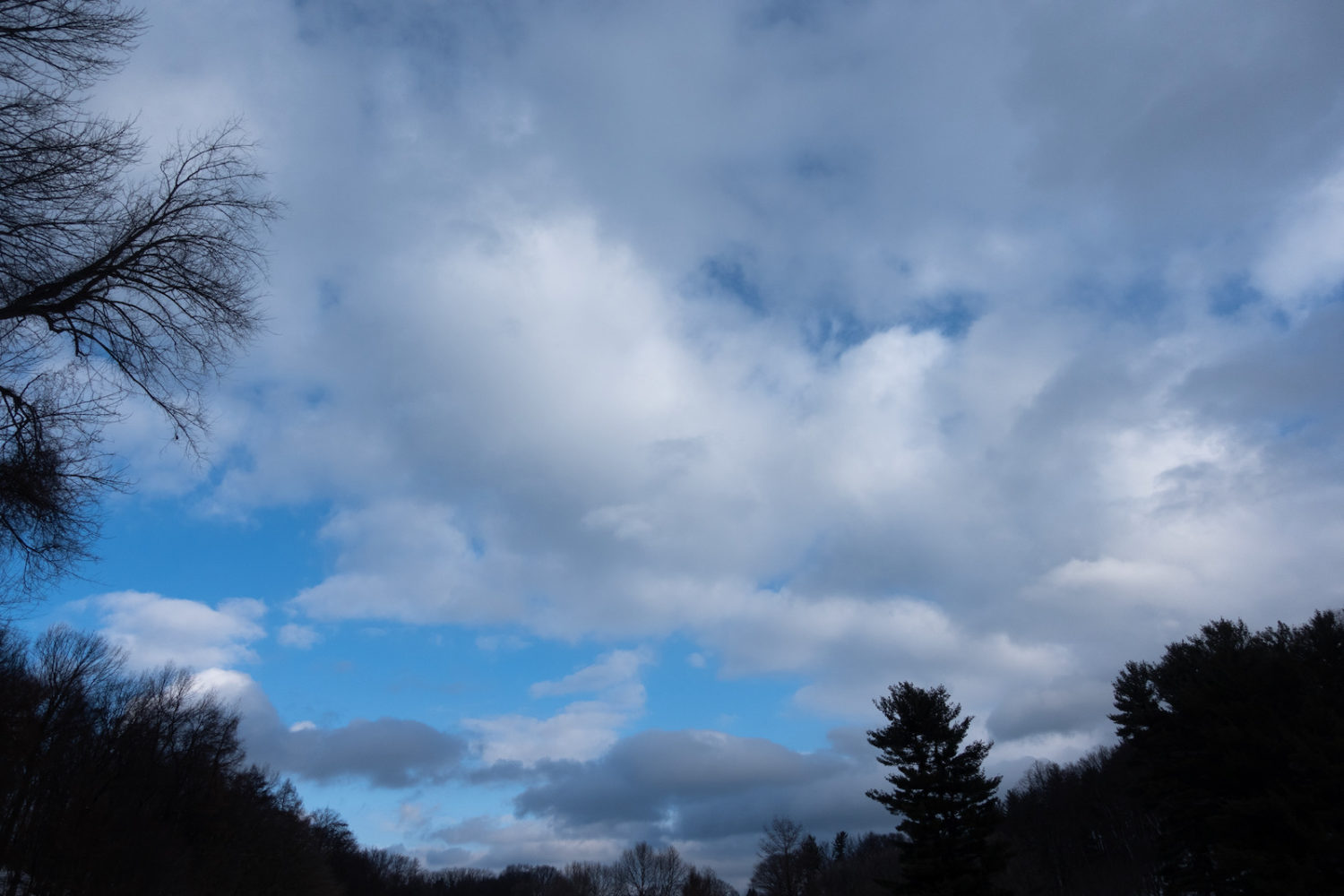 Clouds over our ski path this morning