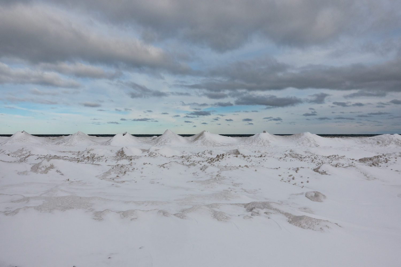 Snow caps on Lake Ontario along Durand Eastman beach