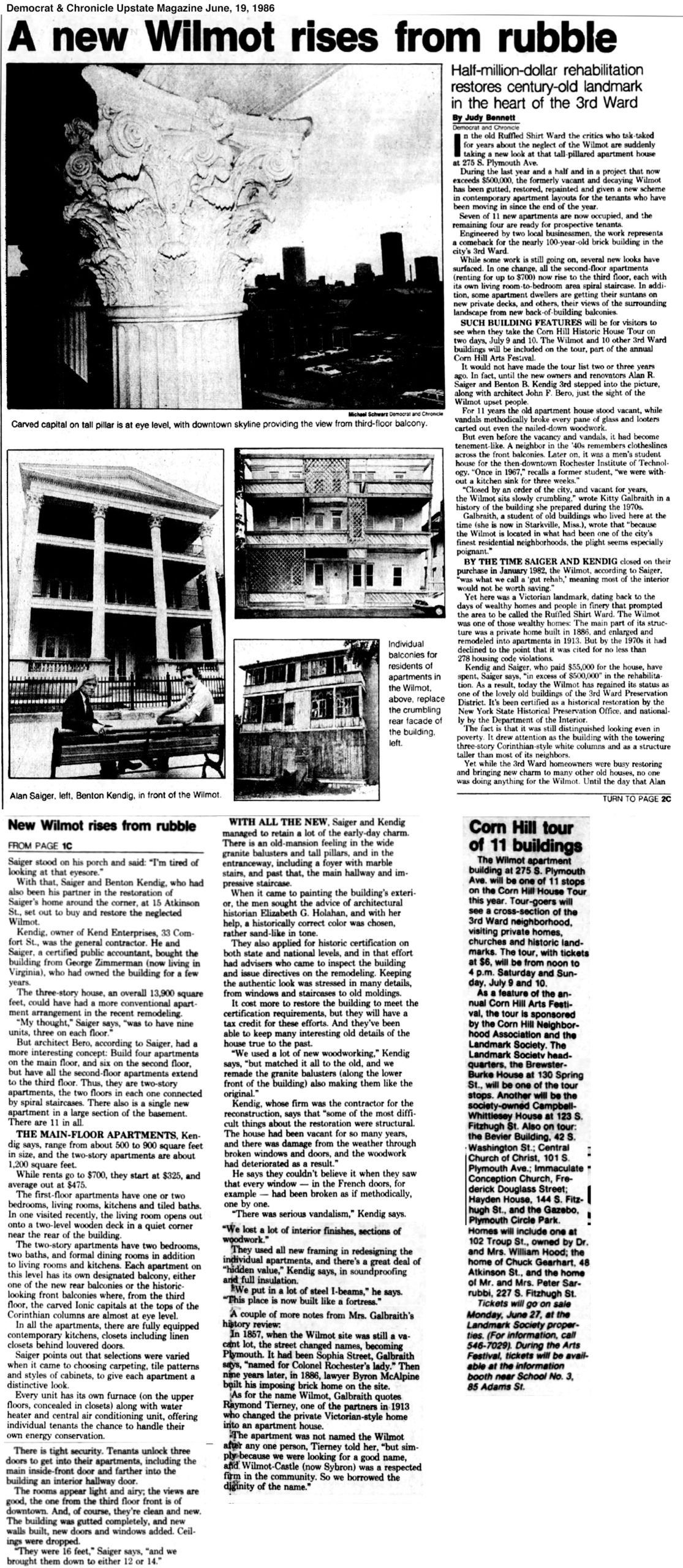 Democrat & Chronicle article about Wilmot Building June 19, 1983