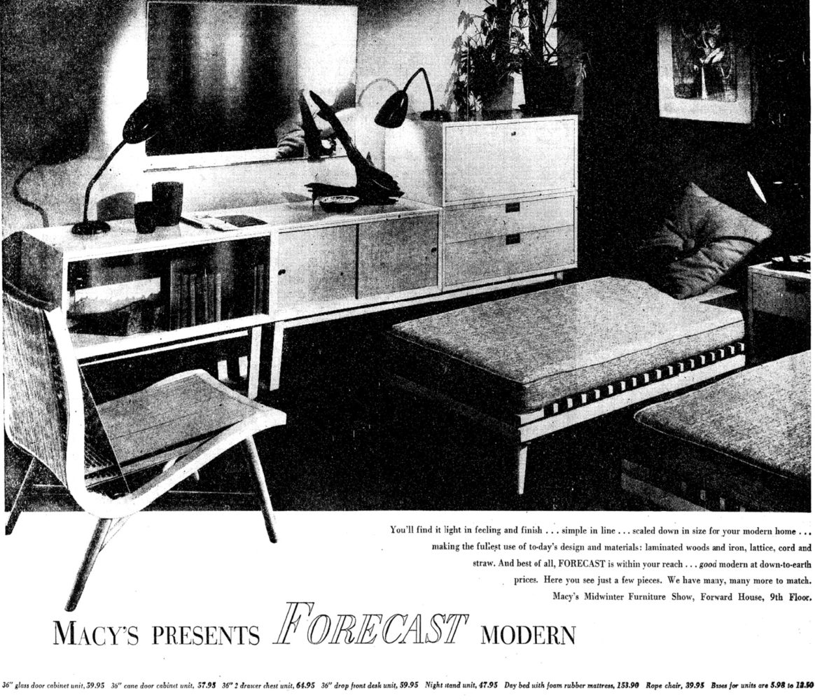 Macy's Modern furniture ad from 02.08.50 issue of New York Times