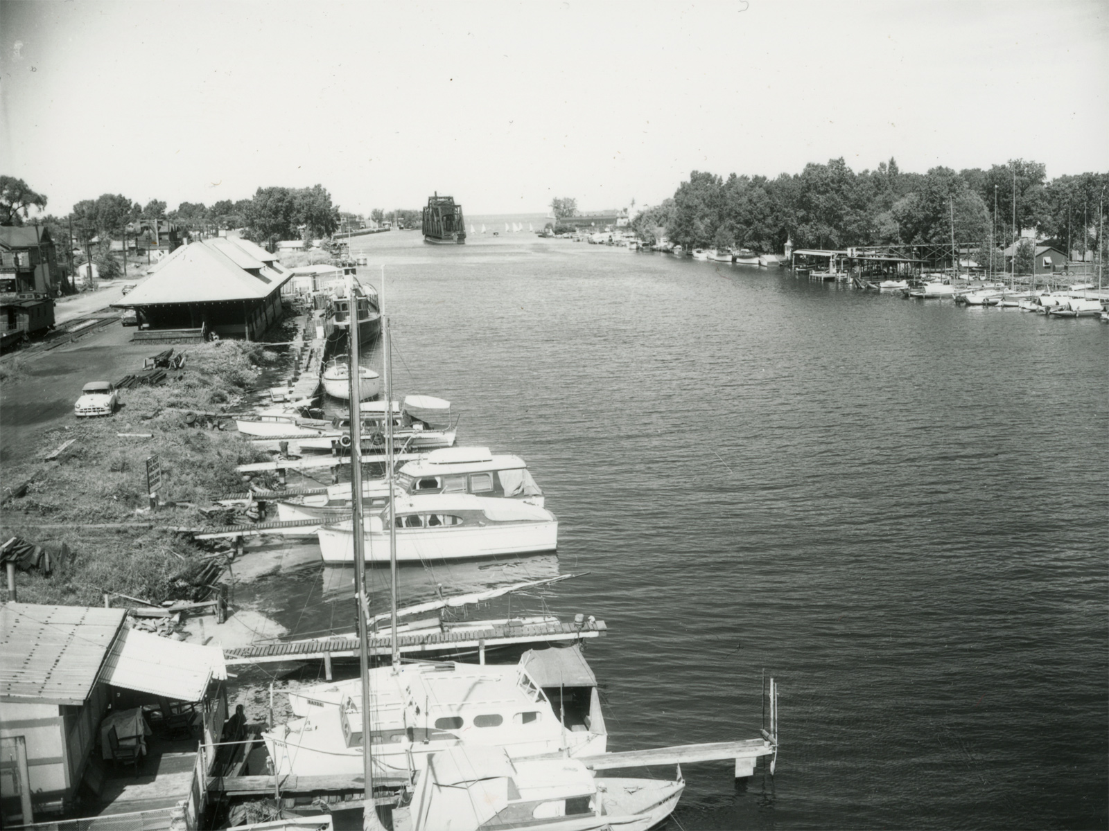Boats along Genesee River near Lake Ontario 1956 – photo from City of Rochester