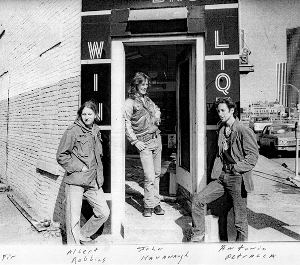 Albert Robbins, John Kavanaugh and Tony Patracca in front of original Pyramid Gallery on Monroe Avenue in Rochester, New York. Circa 1978