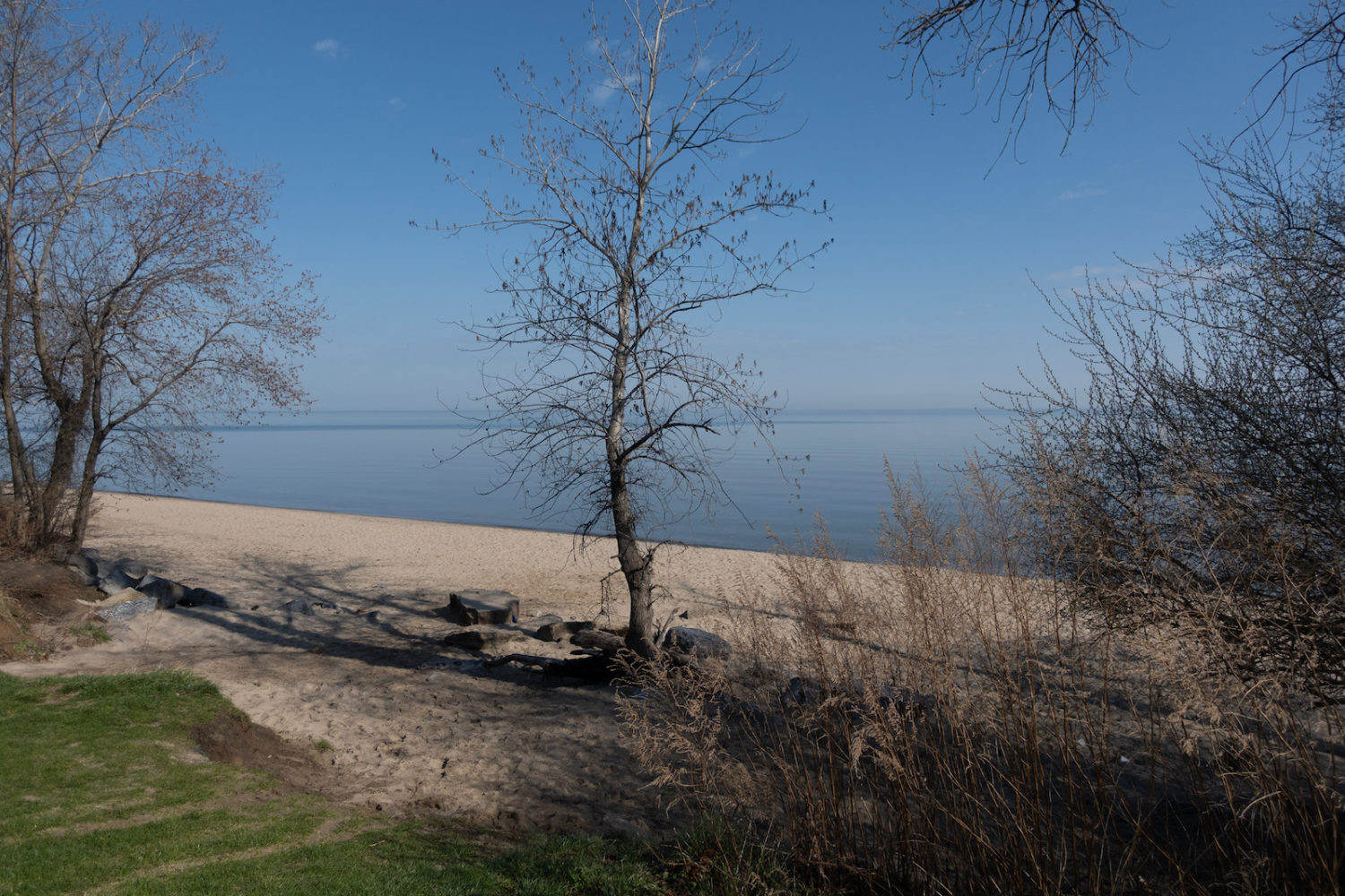 Durand Eastman Beach on a calm day in early Spring