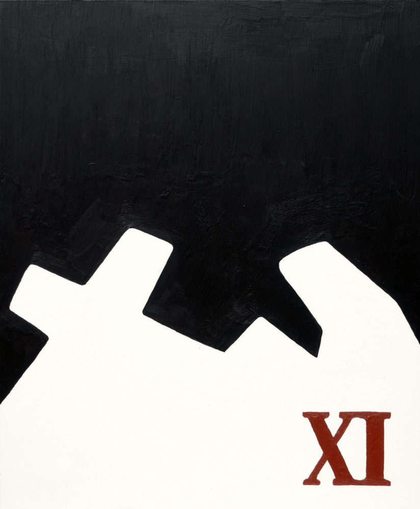"""Passion Play - 11th Station, Jesus is nailed to the Cross, acrylic on plastic panel, 14""""w by 17""""h, 2021 Paul Dodd"""