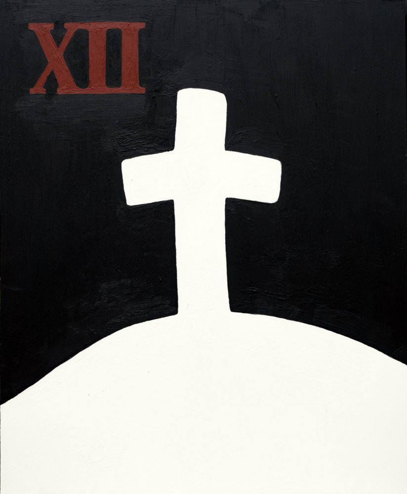 "Passion Play - 12th Station, Jesus dies on the cross, acrylic on plastic panel, 14""w by 17""h, 2021 Paul Dodd"