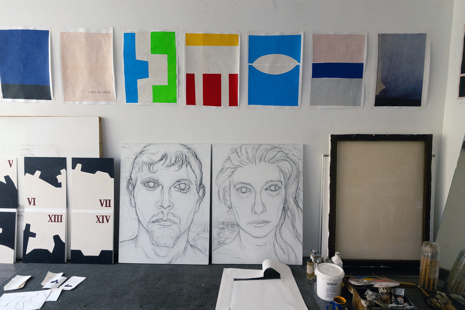 Studio with Litho Collages on wall