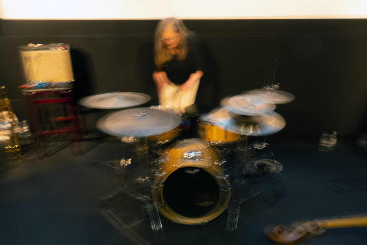 Peggi sound checking drums at Little Theatre 5