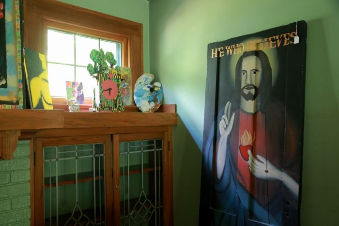 Sacred Heart painting on wooden door by Paul Dodd 1979. From the estate of John Boreck