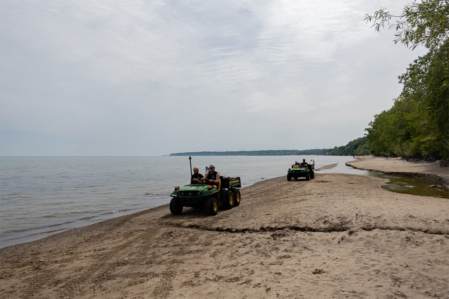 Morning cleanup crew on Durand Eastman Beach