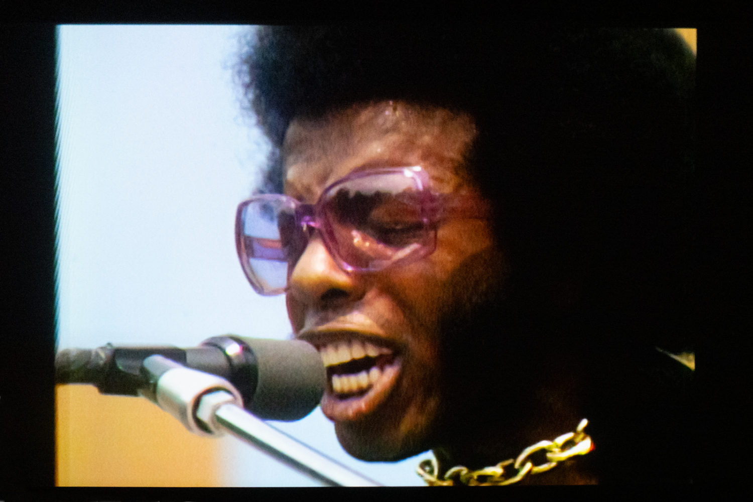 """Sly Stone performing in """"Summer of Soul"""" at the Little Theatre"""