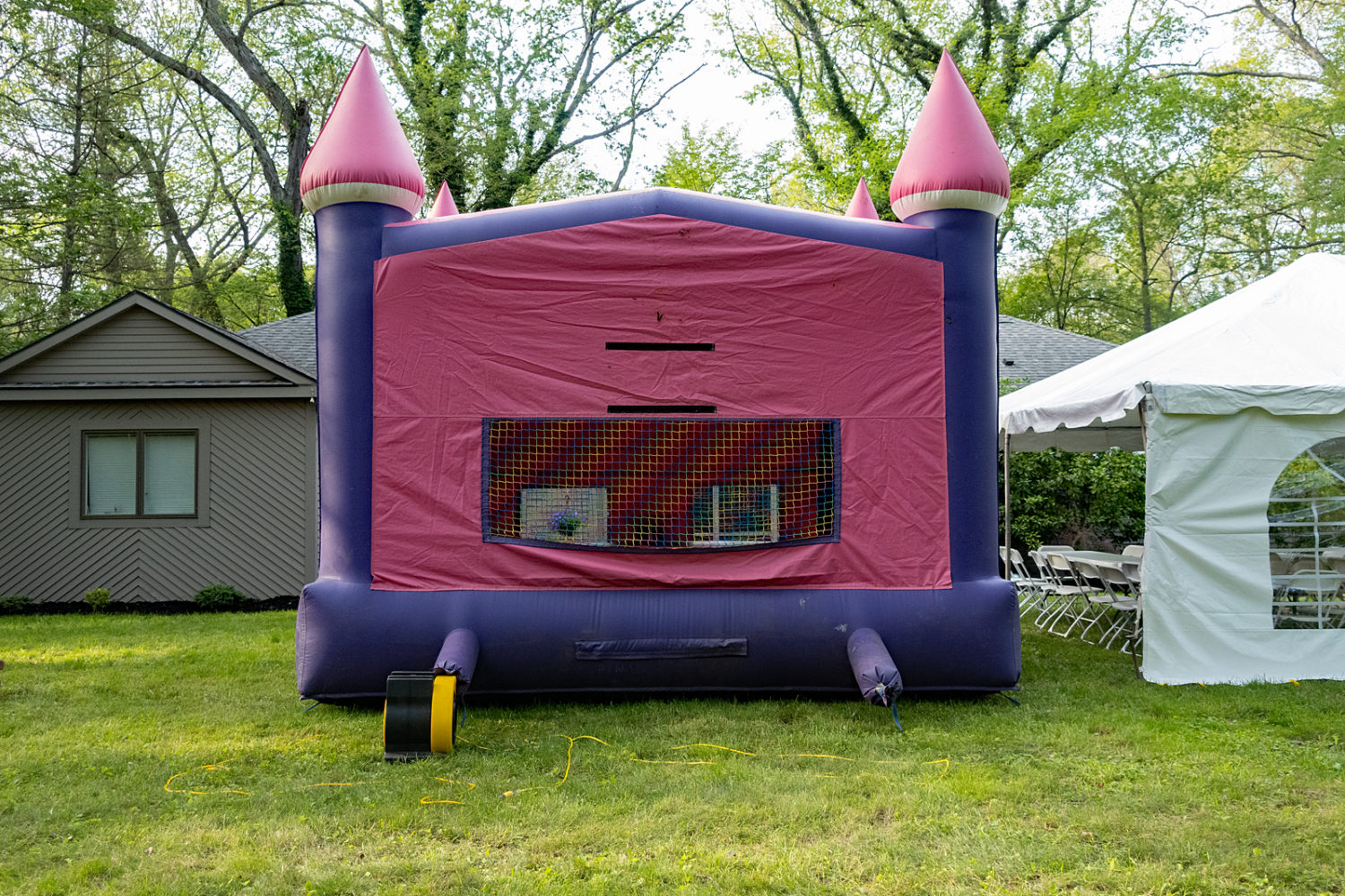 Bounce house down the street