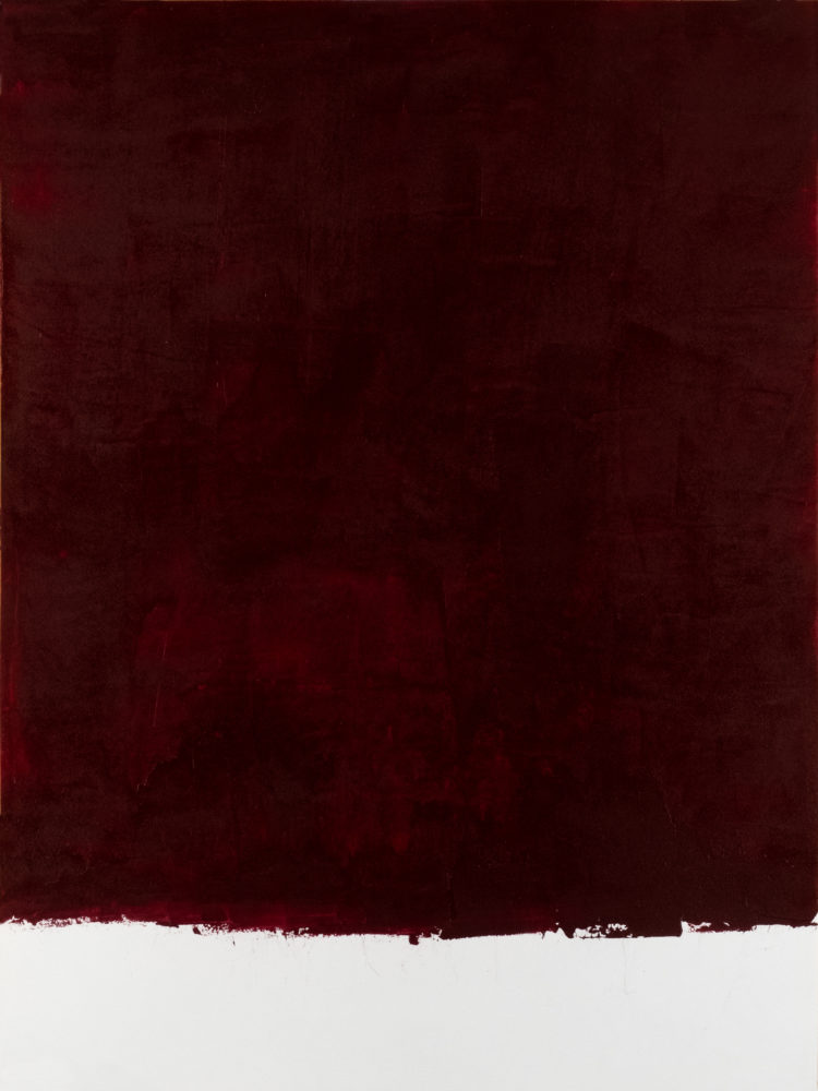 For Fritz (Alizarin Crimson), acrylic on paper, 18″w by 24″h, 2021 Paul Dodd