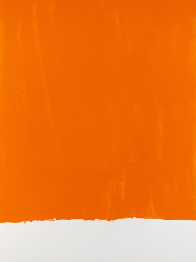 For Fritz (Cadmium Orange), acrylic on paper, 18″w by 24″h, 2021 Paul Dodd