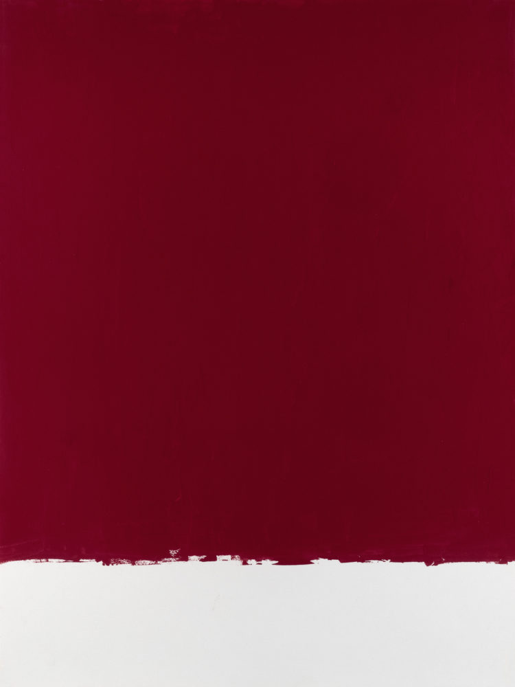 For Fritz (Cadmium Red Deep), acrylic on paper, 18″w by 24″h, 2021 Paul Dodd