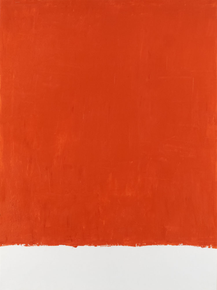 For Fritz (Cadmium Red Light), acrylic on paper, 18″w by 24″h, 2021 Paul Dodd