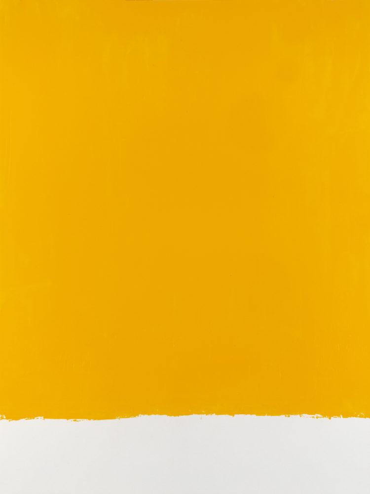 For Fritz (Cadmium Yellow Medium), acrylic on paper, 18″w by 24″h, 2021 Paul Dodd