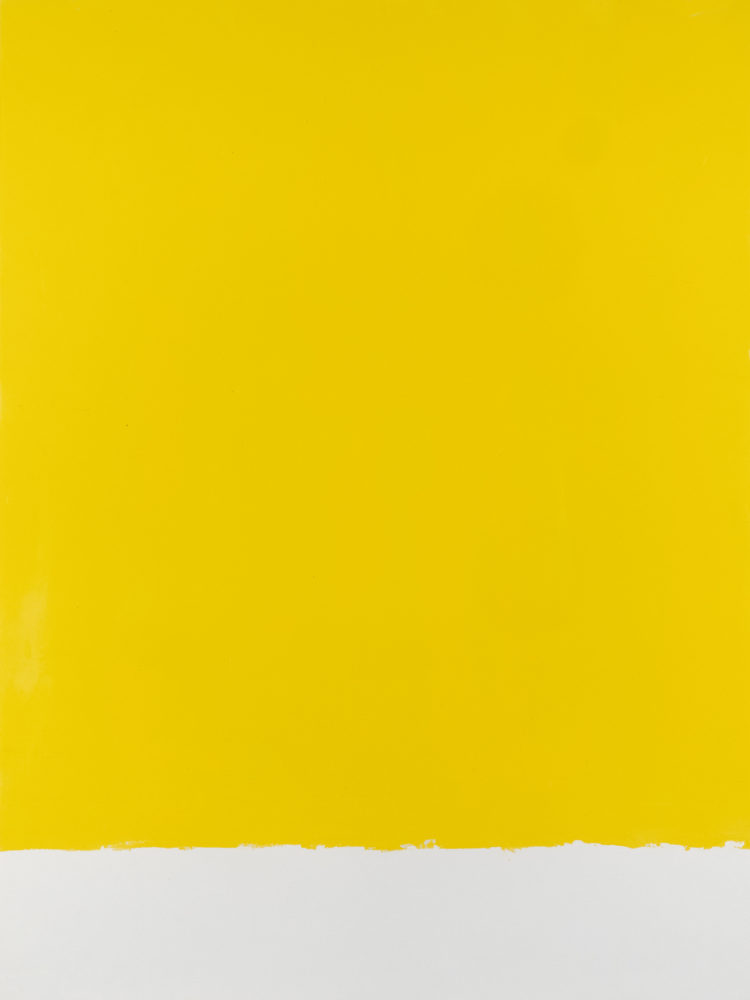For Fritz (Cadmium Yellow Pale), acrylic on paper, 18″w by 24″h, 2021 Paul Dodd