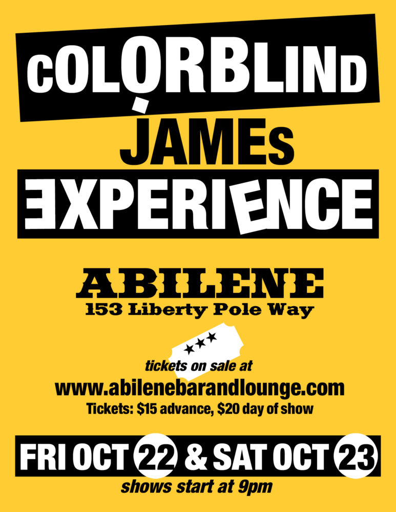Colorblind James poster for 2021 gigs