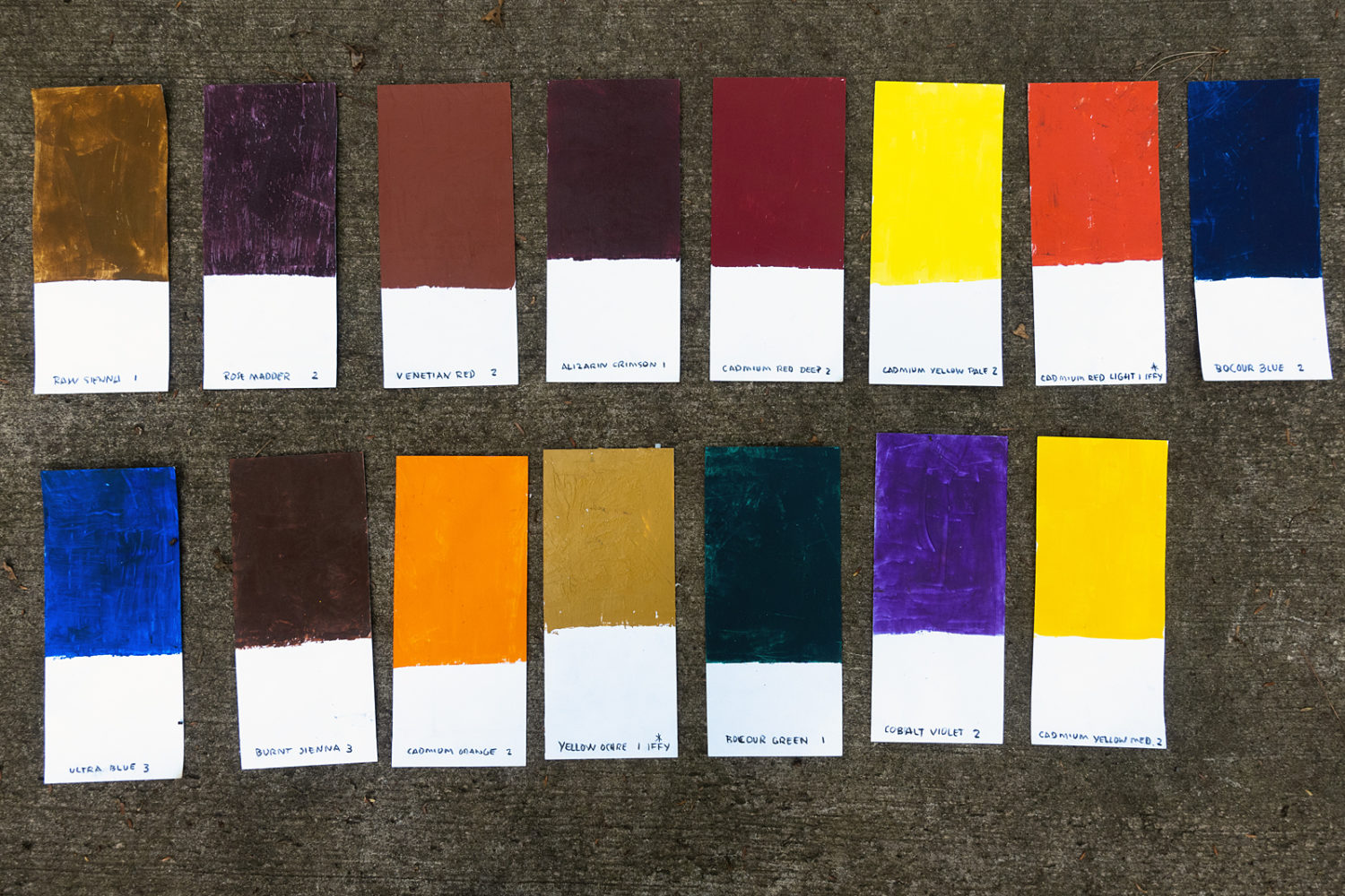 Handmade paint chips of Fred Lipp's Bocour paint