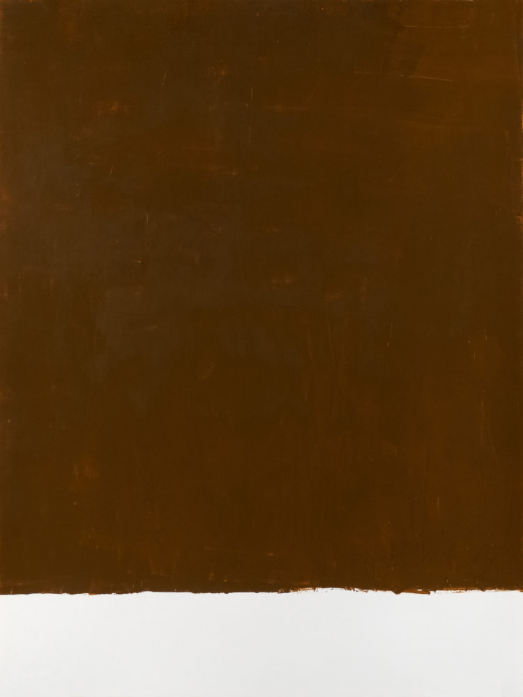 For Fritz (Raw Sienna), acrylic on paper, 18″w by 24″h, 2021 Paul Dodd