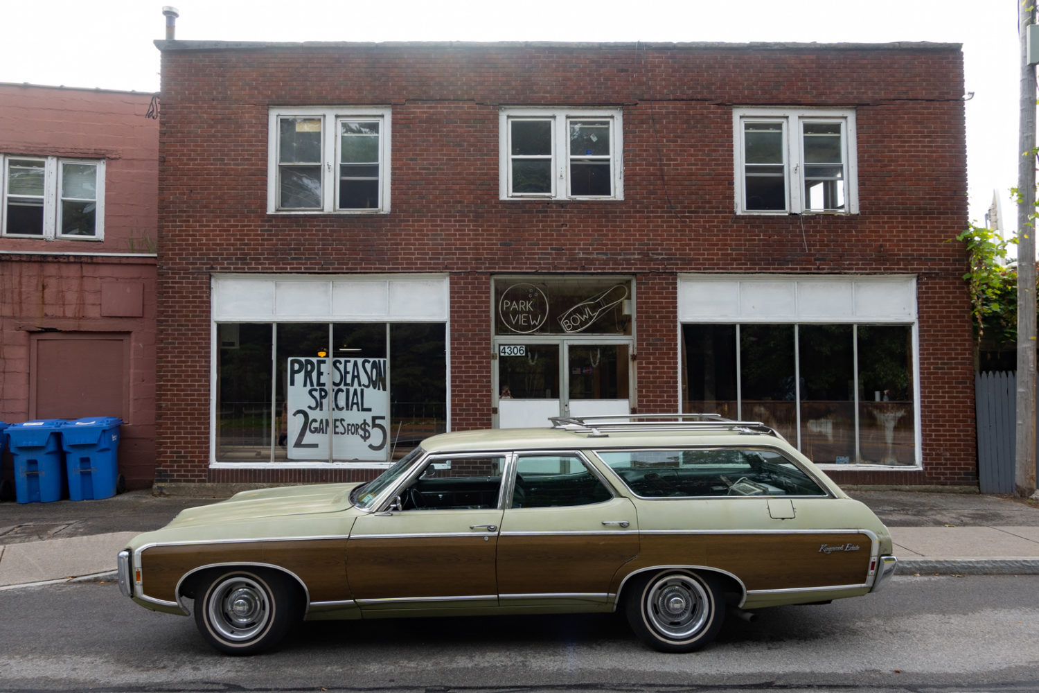 Chevy Kingswood Estate parked outside if Park View Lanes in Rochester, New York